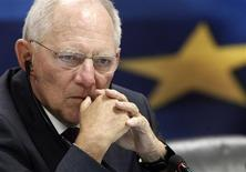 German Finance Minister Wolfgang Schaeuble listens to a news conference in the Greek ministry of finance in Athens July 18, 2013. REUTERS/John Kolesidis