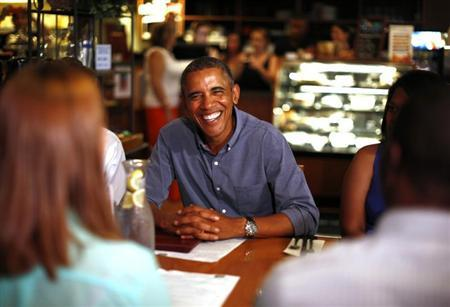 U.S. President Barack Obama meets with college students, their parents and educators as they discuss the cost of education at Magnolia's Deli and Cafe in Rochester, New York, August 22, 2013. REUTERS/Jason Reed