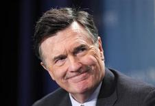 """Dennis Lockhart, President, Federal Reserve Bank of Atlanta, takes part in a panel discussion titled """"Twist and Shout: The Limits of U.S. Monetary Policy"""" at the Milken Institute Global Conference in Beverly Hills, California May 1, 2012. REUTERS/Danny Moloshok"""