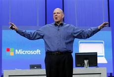"Microsoft CEO Steve Ballmer gestures during his keynote address at the Microsoft ""Build"" conference in San Francisco, California in this file photo from June 26, 2013. REUTERS/Robert Galbraith/Files"
