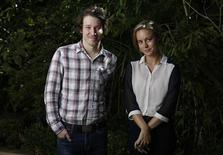 """Cast members Brie Larson and John Gallagher Jr. pose for a portrait while promoting their upcoming movie """"Short Term 12"""" in Los Angeles, California August 6, 2013. Picture taken August 6, 2013. REUTERS/Mario Anzuoni"""
