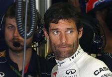 Piloto da Red Bull, Mark Webber, durante a segunda sessão de treinos do Grande Prêmio da Bélgica, no Spa Francorchamps. Webber sinalizou neste domingo que o compatriota Daniel Ricciardo deve ser seu substituto na escuderia atual campeã da F1, a Red Bull Racing, na próxima temporada, pouco antes que a equipe rapidamente desmentisse a informação. 23/08/2013. REUTERS/Francois Lenoir