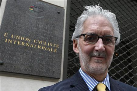 British Cycling President Brian Cookson poses June 24, 2013 in front of the building where the International Cycling Union (UCI) was founded in Paris. Brian Cookson of Britain is challenging Irishman Pat McQuaid for the presidency of the International Cycling Union (UCI), pledging to restore credibility to the sport after the Lance Armstrong scandal. REUTERS/Charles Platiau