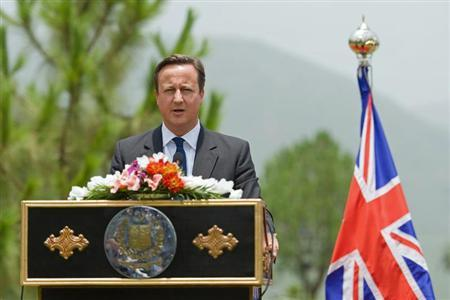 Britain's Prime Minister David Cameron speaks during a news conference with his Pakistani counterpart Nawaz Sharif in Islamabad June 30, 2013. REUTERS/Leon Neal/pool