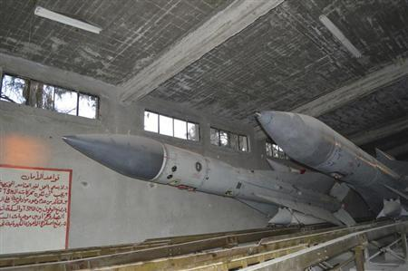 Missiles are seen at a Syrian air defense base after Free Syrian Army fighters seized the base, in eastern Ghouta, on the eastern edge of Damascus, December 31, 2012. REUTERS/Karm Seif /Shaam News Network/Handout/Files