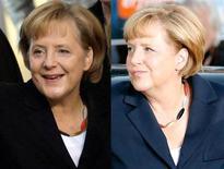 Montagem de fotos que mostram a chanceler alemã Angela Merkel, líder do partido União Democrática Cristã, usando um colar com as cores da bandeira da Alemanha ao chegar para um debate na TV com seu rival nas próximas eleições, Peer Steinbrueck, do Partido Social Democrático, em Berlim. Nem a crise do euro, nem a guerra na Síria -o que mais chamou a atenção dos alemães num debate político transmitido pela TV no domingo foi o colar de Merkel. 02/09/2013. REUTERS/Staff/Files