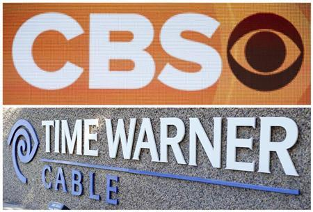 Combination photo shows the CBS logo on stage during CBS portion the 2013 Winter Television Critics Association Press Tour in Pasadena and the Time Warner Cable logo in Carlsbad, California on January 12, 2013 and November 5, 2012 respectively. REUTERS/Bret Hartman/Files (CBS) and REUTERS/Mike Blake/Files (Time Warner)