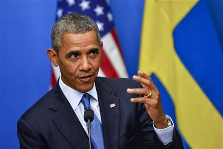 U.S. President Barack Obama speaks during his news conference with Swedish Prime Minister Fredrik Reinfeldt at the chancellery in Stockholm, September 4, 2013. REUTERS/Jonas Ekstromer/Scanpix Sweden