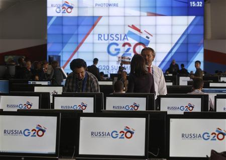An interior view of the main press centre of the G20 summit is seen in Strelna near St. Petersburg September 4, 2013. REUTERS/Alexander Demianchuk
