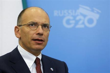 Italy's Prime Minister Enrico Letta attends a meeting with Russia's President Vladimir Putin (not pictured) at the G20 Summit in Strelna near St. Petersburg September 5, 2013. REUTERS/Dmitry Lovetsky/Pool