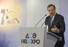 Greece's Prime Minister Antonis Samaras delivers a speech at the annual International Trade Fair of Thessaloniki in northern Greece September 7, 2013. REUTERS/Alexandros Avramidis
