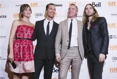 """Director Jean-Marc Vallee (2nd R) with cast members Jennifer Garner (L), Matthew McConaughey (2nd L) and Jared Leto arrive for the """"Dallas Buyers Club"""" film screening at the 38th Toronto International Film Festival in Toronto, September 7, 2013. REUTERS/Mark Blinch"""