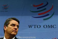 Roberto Azevêdo, novo diretor-geral da Organização Mundial do Comércio (OMC), durante sua primeira reunião geral na sede da OMC em Genebra, 9 de setembro de 2013. O comércio mundial deve crescer 2,5 por cento neste ano e 4,5 por cento em 2014, disse Azevêdo nesta segunda-feira revisando para baixo as estimativas anteriores de 3,3 por cento e 5 por cento.