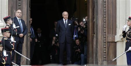 French Foreign Affairs Minister Laurent Fabius is seen at the Quai d'Orsay Foreign Ministry before the arrival of U.S. Secretary of State John Kerry in Paris September 7, 2013. REUTERS/Jacky Naegelen