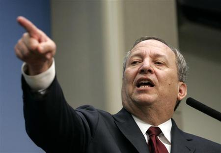 Lawrence Summers, director of the White House National Economic Council, takes questions after delivering a speech on ''Responding to an Historic Economic Crisis: The Obama Program,'' at the Brookings Institution in Washington March 13, 2009. REUTERS/Molly Riley
