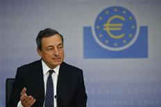 Mario Draghi, President of the European Central Bank (ECB) answers reporters questions during the ECB's monthly press conference in Frankfurt, September 5, 2013. REUTERS/Kai Pfaffenbach
