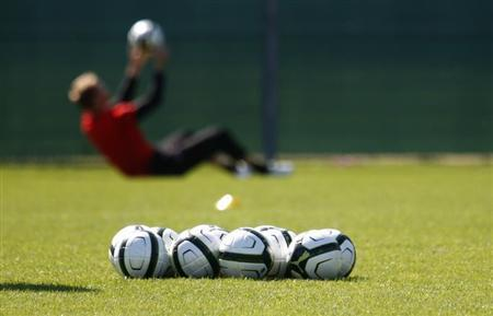 Soccer balls are pictured in front of an Austrian national soccer team player during a training session in Vienna August 13, 2012. REUTERS/Lisi Niesner/Files