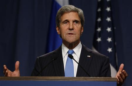 U.S. Secretary of State John Kerry delivers his opening remarks to the media before a meeting with Russian Foreign Minister Sergey Lavrov to discuss the ongoing crisis in Syria, September 12, 2013. REUTERS/Larry Downing
