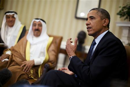 U.S. President Barack Obama meets Sheikh Sabah al-Ahmad al-Jaber al-Sabah, Kuwait's emir, in the Oval Office of the White House in Washington, September 13, 2013. REUTERS/Jason Reed
