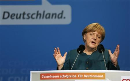 German Chancellor and head of the Christian Democratic Union (CDU) Angela Merkel gives a speech during a CDU election campaign event in Osnabrueck September 13, 2013. REUTERS/Ina Fassbender
