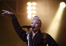 U.S. singer Pink performs on main stage during Budapest's Sziget Music Festival on an island in the Danube River in this August 10, 2007 file photo. REUTERS/Laszlo Balogh/Files