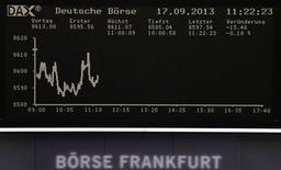 Les Bourses européennes restent en légère baisse à mi-séance après leurs records atteints la veille, de mauvais chiffres sur le marché automobile en Europe et l'attente de la réunion de la Fed incitant les investisseurs à la prudence. À Paris, le CAC 40 perdait 0,34% vers 13h et à Francfort, le Dax cédait 0,23%. /Photo prise le 17 septembre 2013/REUTERS/Remote
