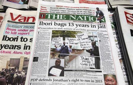 Newspapers, with details of the sentencing of James Ibori, are seen on a a news-stand in Lagos in this April 18, 2012 file photo. REUTERS/Akintunde Akinleye