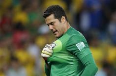 O goleiro Julio César celebra gol da seleção em jogo contra Espanha, em junho, no Rio de Janeiro. 30/06/2013 REUTERS/Jorge Silva