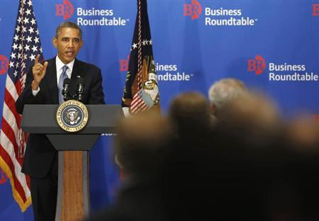 U.S. President Barack Obama delivers remarks at a business roundtable with company CEOs in Washington, September 18, 2013. REUTERS/Jason Reed