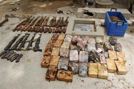 Ammunition and explosives seized from suspected members of Hezbollah are displayed after a raid of a building in Nigeria's northern city of Kano May 30, 2013. REUTERS/Stringer