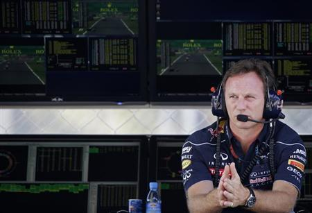 Red Bull Team Principal Christian Horner looks on during the second practice session of the Italian F1 Grand Prix at the Monza circuit September 6, 2013. REUTERS/Max Rossi