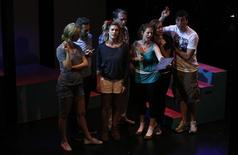 """Sarah Halford (3rd L) and other cast members perform during the rehearsals for """"Heathers the Musical"""" at the Hudson theatre in Los Angeles, California September 17, 2013. REUTERS/Mario Anzuoni"""