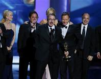 "Executive producer Vince Gilligan accepts the award for Outstanding Drama Series for ""Breaking Bad"" at the 65th Primetime Emmy Awards in Los Angeles September 22, 2013. REUTERS/Mike Blake"