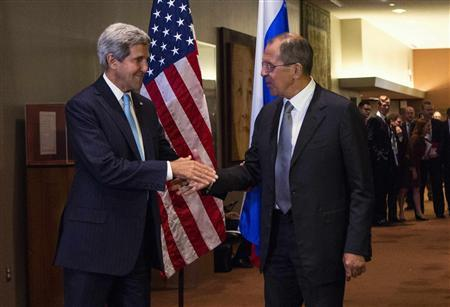 United States Secretary of State John Kerry shakes hands with Russian Foreign Minister Sergey Lavrov during the U.N. General Assembly at U.N. Headquarters in New York September 24, 2013. REUTERS/Eric Thayer