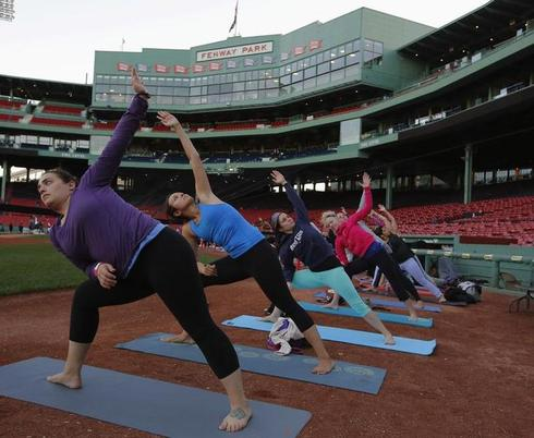 Yoga in Fenway Park