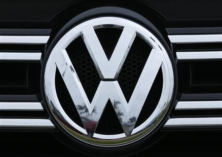 A Volkswagen logo is seen on the front of a Volkswagen vehicle at a dealership in Carlsbad, California, April 29, 2013. REUTERS/Mike Blake