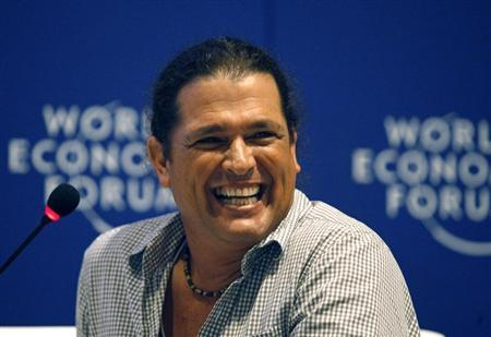 Colombian singer Carlos Vives laughs during the Music For Social Change forum at the World Economic Forum on Latin America in Cartagena April 7, 2010 in this file picture. REUTERS/Jose Miguel Gomez