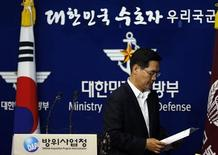 South Korea's Defense Ministry spokesman Kim Min-seok leaves after a briefing at the Defense Ministry in Seoul September 24, 2013. REUTERS/Kim Hong-Ji