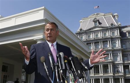 Speaker of the House John Boehner speaks to the press after meeting with U.S. President Obama and bipartisan Congressional leaders in the Cabinet Room at the White House in Washington, in this file photo taken September 3, 2013. REUTERS/Larry Downing