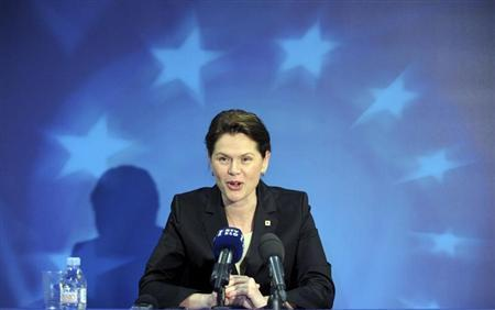 Slovenia's Prime Minister Alenka Bratusek addresses a news conference during a European Union leaders summit in Brussels June 28, 2013. REUTERS/Laurent Dubrule