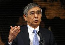 Bank of Japan Governor Haruhiko Kuroda gives his speech during a seminar in Tokyo September 20, 2013. REUTERS/Yuya Shino