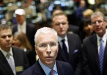 Hillshire Brands CEO Sean Connolly at the post that trades his company's stock on the floor of the New York Stock Exchange, July 3, 2012. REUTERS/Brendan McDermid