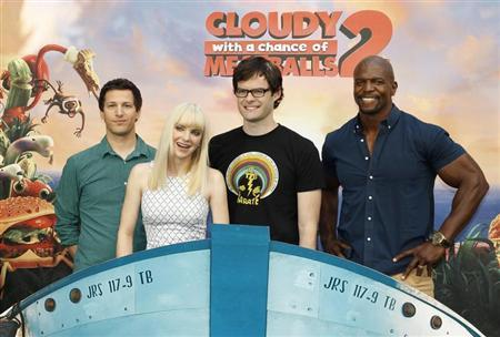 (L-R) Andy Samberg, Anna Faris, Bill Hader and Terry Crews, voice talents from the new Sony Pictures Animation film ''Cloudy with a Chance of Meatballs 2'', pose during a photo call in Beverly Hills, California September 15, 2013. REUTERS/Fred Prouser