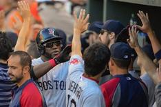 Boston Red Sox designated hitter David Ortiz is greeted by teammates after scoring in the ninth inning against Baltimore Orioles relief pitcher Jim Johnson during their MLB American League baseball game in Baltimore, Maryland September 29, 2013. REUTERS/Doug Kapustin