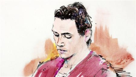 A clean-shaven James Holmes appears in court in Centennial, Colorado in this September 30, 2013 court sketch. REUTERS/Bill Robles