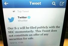 Foto del jueves de un tuit de Twitter Inc. anunciando su OPI. Oct 3, 2013. REUTERS/Hyungwon Kang
