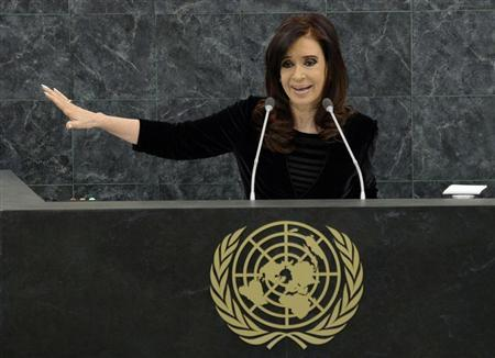 Argentina's President Cristina Fernandez addresses the 68th United Nations General Assembly at UN headquarters in New York September 24,2013. REUTERS/Justin Lane/Pool