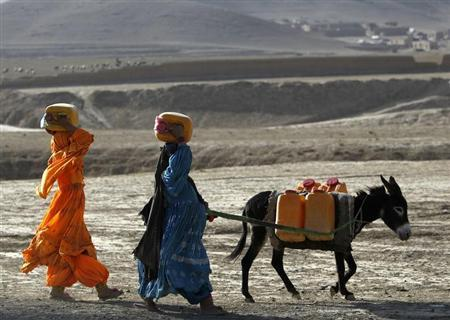 Afghan kochi nomad women carry water containers on their heads as they walk with a donkey outside of Maidan Shar, the capital of Wardak province, September 8, 2013. REUTERS/Omar Sobhani