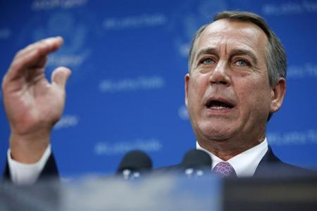 U.S. House Speaker John Boehner (R-OH) addresses reporters during a news conference with fellow House Republicans at the U.S. Capitol in Washington October 4, 2013. REUTERS/Jonathan Ernst