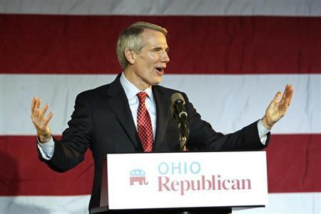 U.S. Sen. Rob Portman (R-OH) speaks to the crowd at Ohio Republican U. S. Sen. candidate Josh Mandel's election night rally in Columbus, Ohio, November 6, 2012. REUTERS/Aaron Josefczyk